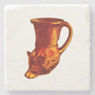 Greek Bear Head Cup Stone Coaster