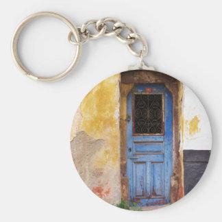 Greek Blue Door - Crete Basic Round Button Keychain
