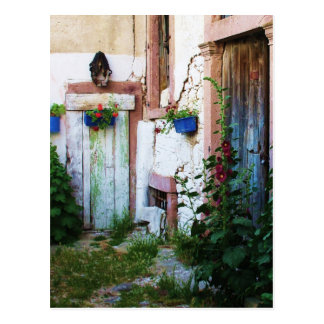 Greek Blue Door in a Flower Garden in Greece Postcard