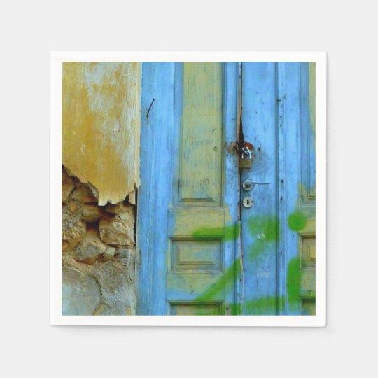 Greek blue door napkins. disposable napkins