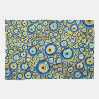 Greek Blue Glass Evil Eye Amulet Pattern Kitchen Towel