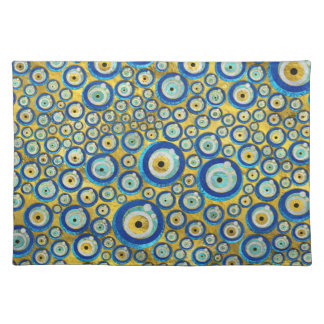 Greek Blue Glass Evil Eye Amulet Pattern Placemat