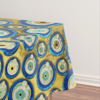 Greek Blue Glass Evil Eye Amulet Pattern Tablecloth