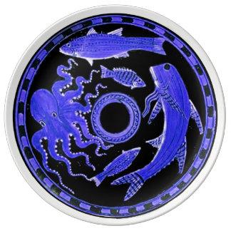 Greek blue sea animals plate