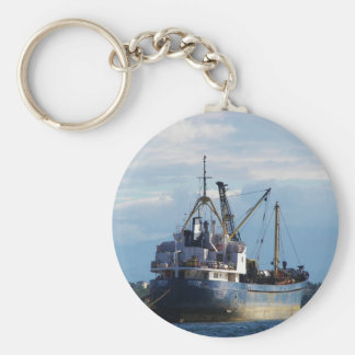 Greek cargo ship in the islands. basic round button keychain