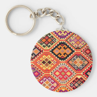 greek carpet traditional motif folk pattern genuin basic round button keychain