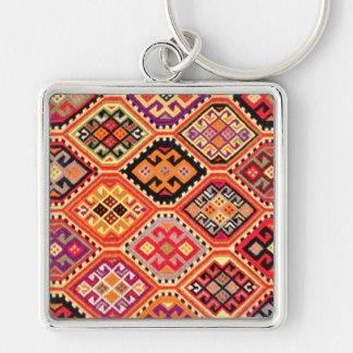 greek carpet traditional motif folk pattern genuin Silver-Colored square keychain