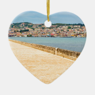 Greek City Port Argostoli with road on bridge Ceramic Ornament