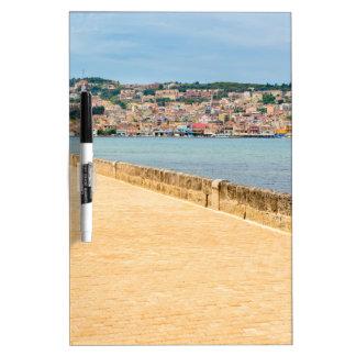 Greek City Port Argostoli with road on bridge Dry Erase Board