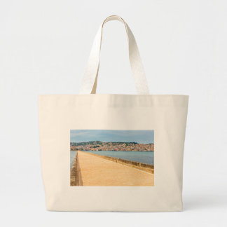 Greek City Port Argostoli with road on bridge Large Tote Bag