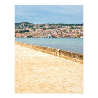 Greek City Port Argostoli with road on bridge Letterhead