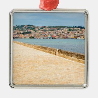 Greek City Port Argostoli with road on bridge Metal Ornament
