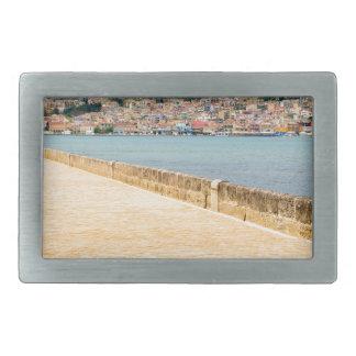 Greek City Port Argostoli with road on bridge Rectangular Belt Buckles
