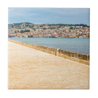 Greek City Port Argostoli with road on bridge Tiles