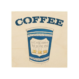 Greek Coffee Cup NYC Diner Restaurant Foodie Wood Wall Art
