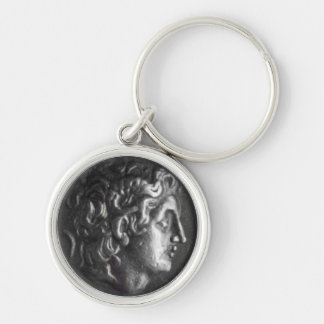 Greek Coin Silver-Colored Round Keychain