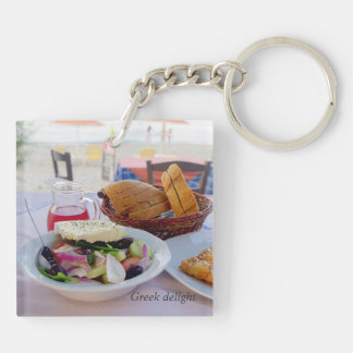 Greek delight Double-Sided square acrylic keychain