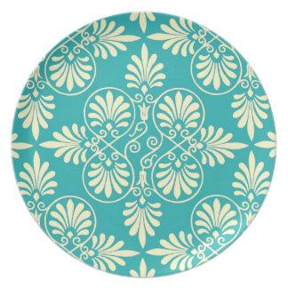 Greek Design Motif Greco-Roman Classic Teal Design Party Plate