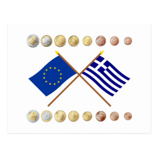 Greek Euros and EU & Greece Flags Postcard