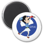 Greek Evzone dancing with Flag OPA! 2 Inch Round Magnet