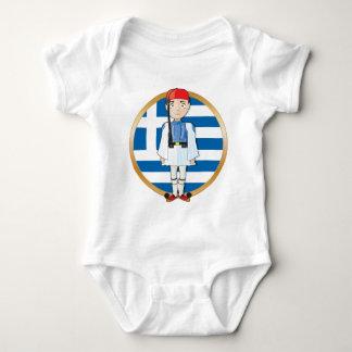 Greek Evzone with Flag Baby Bodysuit