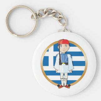 Greek Evzone with Flag Basic Round Button Keychain