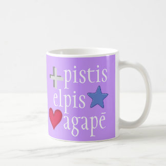 GREEK faith hope love mug