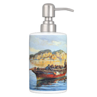 Greek Fishing Boats Ocean Boats Blue Sea Bath Set