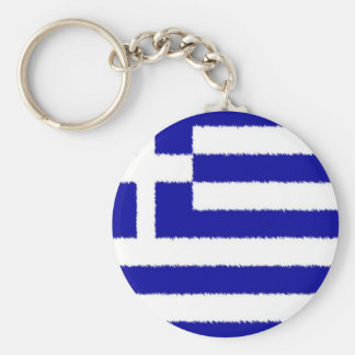 Greek Flag Basic Round Button Keychain