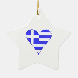 Greek Flag Heart Funky Ceramic Star Ornament