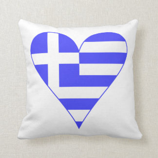 Greek Flag Heart Funky Throw Pillow