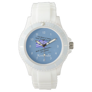 Greek Flag Hellas Blood and Ouzo and Name Watch