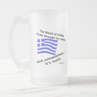 Greek Flag Hellas Blood and Ouzo Frosted Glass Beer Mug