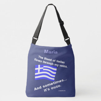 Greek Flag Hellas Blood and Ouzo Times 2 With Name Crossbody Bag