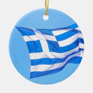 Greek flag in Athens Ceramic Ornament