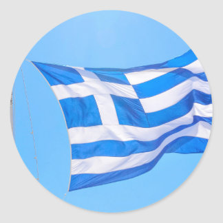 Greek flag in Athens Classic Round Sticker