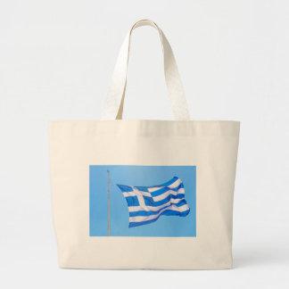 Greek flag in Athens Large Tote Bag