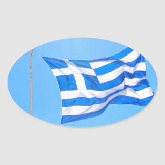 Greek flag in Athens Oval Sticker