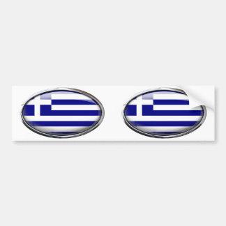 Greek Flag in Glass Oval Bumper Sticker