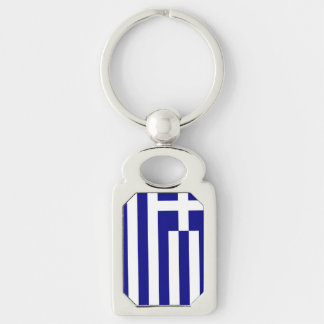 Greek Flag Silver-Colored Rectangle Keychain