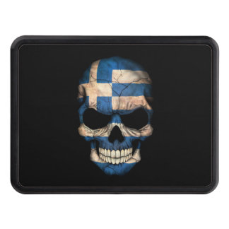 Greek Flag Skull on Black Trailer Hitch Cover