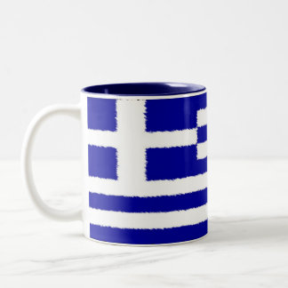 Greek Flag Two-Tone Coffee Mug