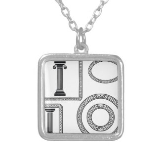 Greek Frame Silver Plated Necklace