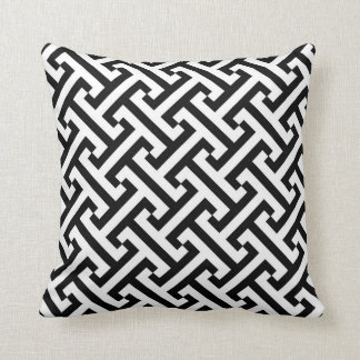 Greek Geometric Pattern Black and White Throw Pillow