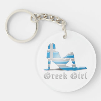 Greek Girl Silhouette Flag Double-Sided Round Acrylic Keychain