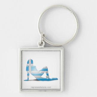 Greek Girl Silhouette Flag Key Chain
