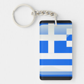 Greek glossy flag Double-Sided rectangular acrylic keychain