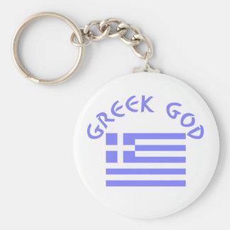 Greek God & Flag Basic Round Button Keychain
