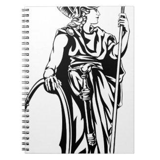Greek Goddess Athena Warrior Spiral Notebooks