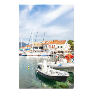 Greek harbor with sailing boats in Fiskardo Customized Stationery